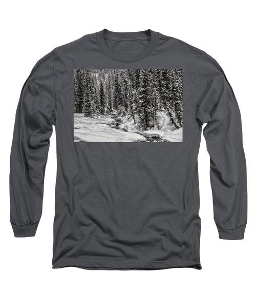 Winter Alpine Creek II Long Sleeve T-Shirt by Brad Allen Fine Art