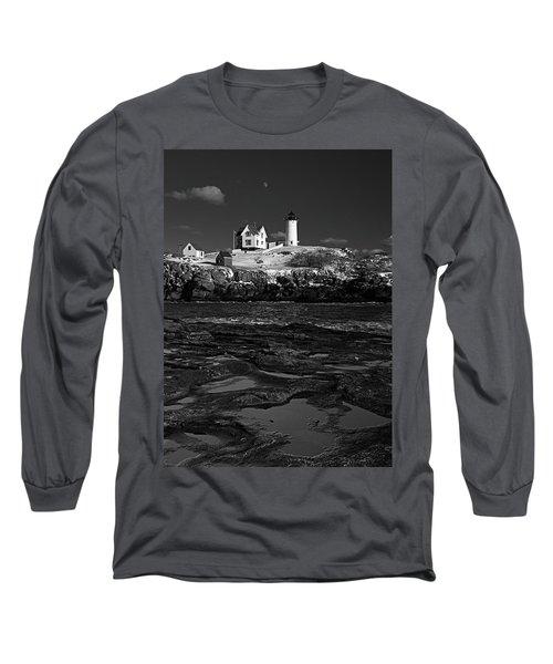 Winter At Nubble Lighthouse Bw Long Sleeve T-Shirt