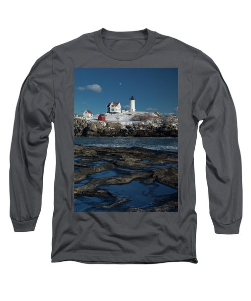 Winter At Nubble Lighthouse Long Sleeve T-Shirt