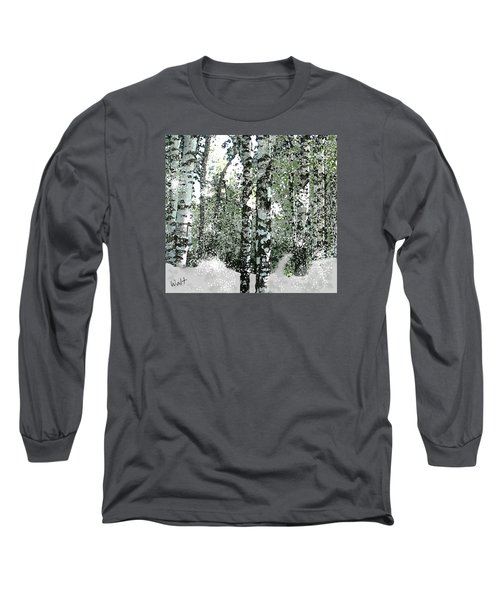 Long Sleeve T-Shirt featuring the digital art Winter Birches by Walter Chamberlain