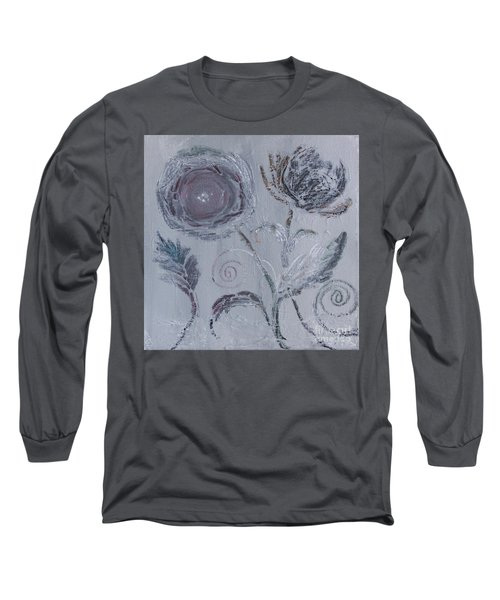 Long Sleeve T-Shirt featuring the painting Winter Blooms by Robin Maria Pedrero