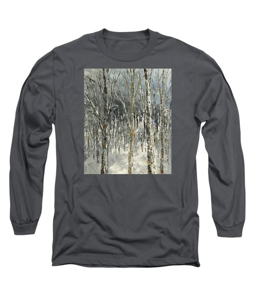 Long Sleeve T-Shirt featuring the painting Winter Country by Tatiana Iliina