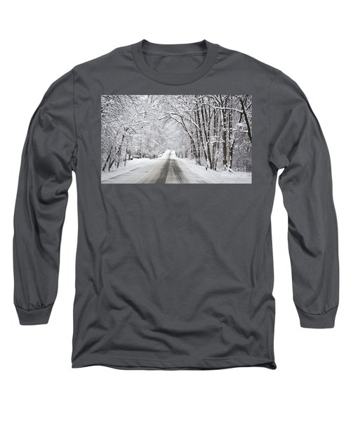 Winter Drive On Highway A Long Sleeve T-Shirt
