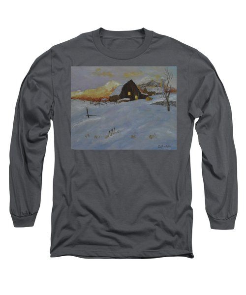 Winter Dusk On The Farm Long Sleeve T-Shirt