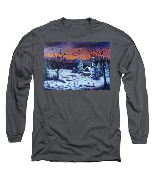 Winter Evening 2 Long Sleeve T-Shirt by Bozena Zajaczkowska