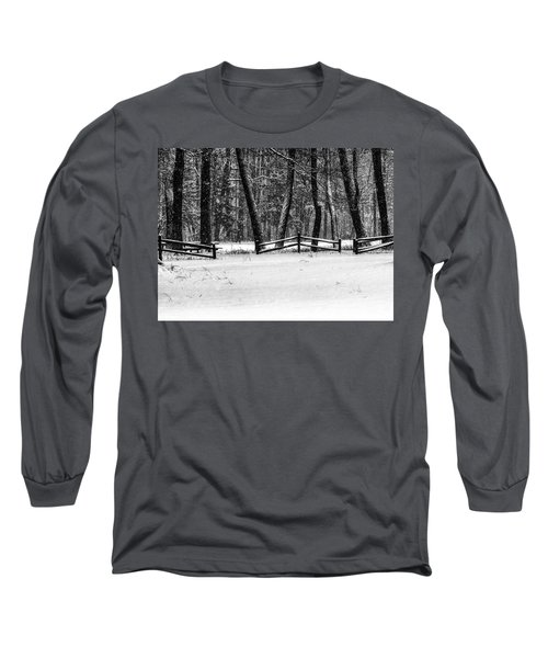 Winter Fences In Black And White  Long Sleeve T-Shirt