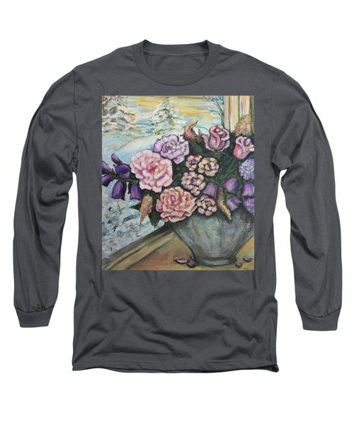Long Sleeve T-Shirt featuring the painting Winter Flowers by Rae Chichilnitsky