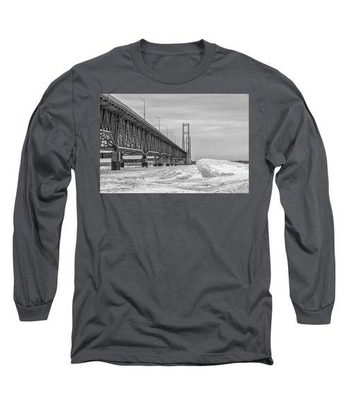 Long Sleeve T-Shirt featuring the photograph Winter Icy Mackinac Bridge  by John McGraw