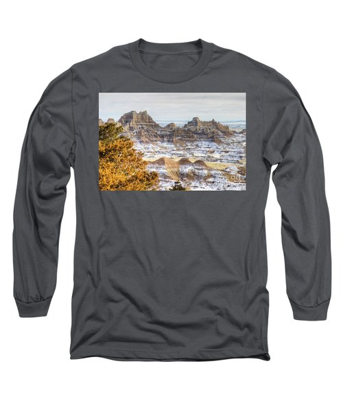 Long Sleeve T-Shirt featuring the photograph Winter In The Badlands by Bill Gabbert
