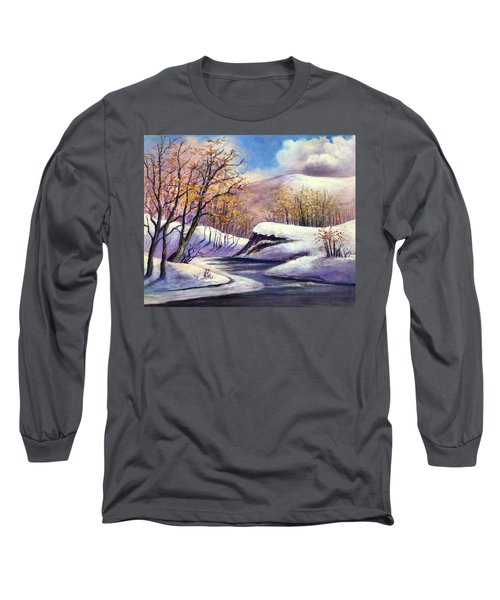 Long Sleeve T-Shirt featuring the painting Winter In The Garden Of Eden by Randol Burns