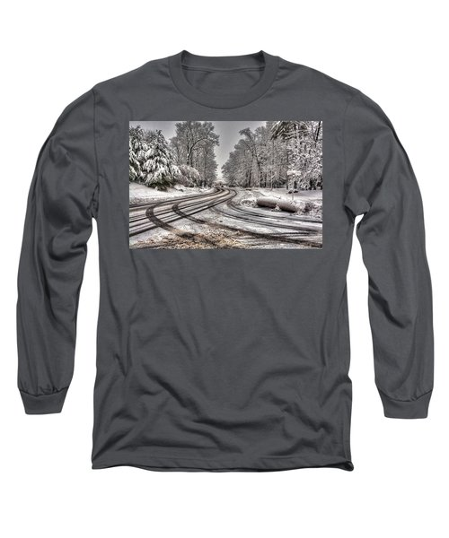 Tracks In The Snow Long Sleeve T-Shirt by Alex Galkin