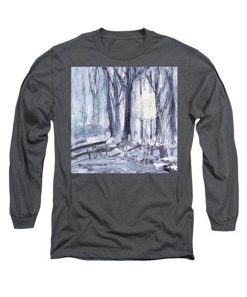 Long Sleeve T-Shirt featuring the painting Winter Light by Robin Maria Pedrero