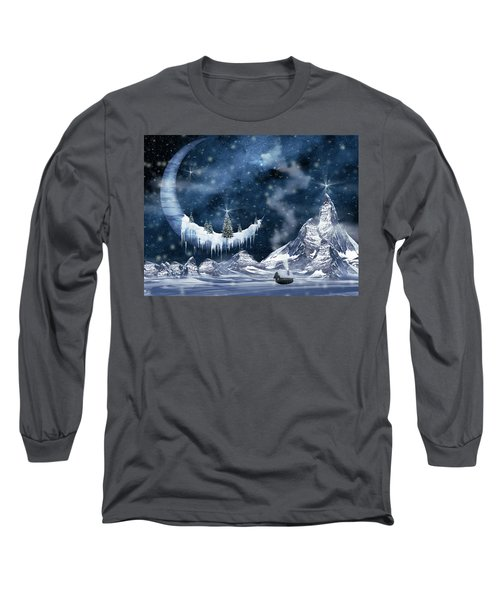 Winter Moon Long Sleeve T-Shirt by Mihaela Pater