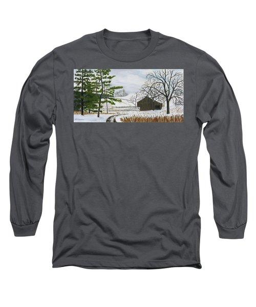 Winter On Hill Crystal Farm Long Sleeve T-Shirt