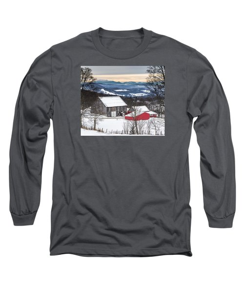 Winter On The Farm On The Hill Long Sleeve T-Shirt