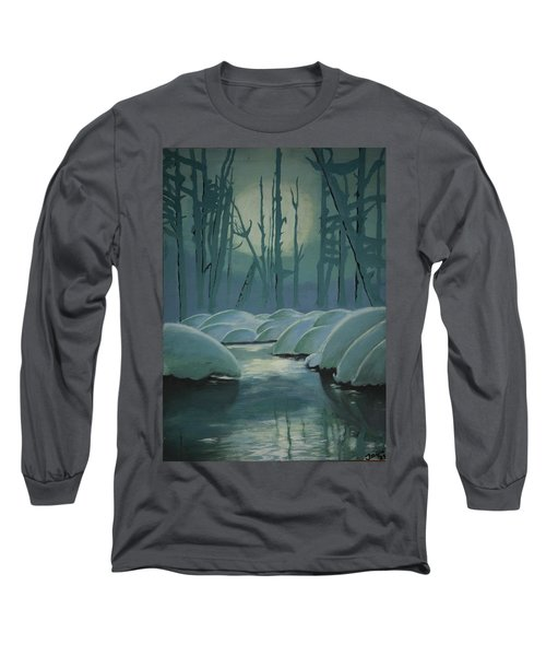 Long Sleeve T-Shirt featuring the painting Winter Quiet by Jacqueline Athmann
