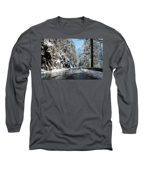 Winter Road Long Sleeve T-Shirt by Sergey Simanovsky