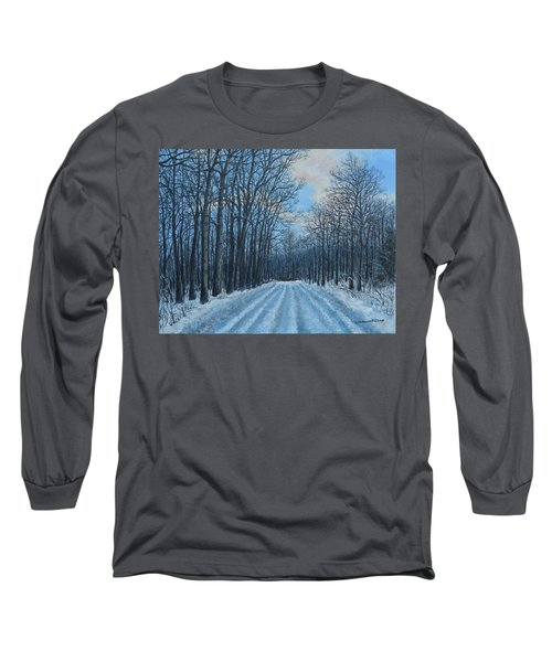 Winter Road To The Gas Well Long Sleeve T-Shirt by Kathleen McDermott