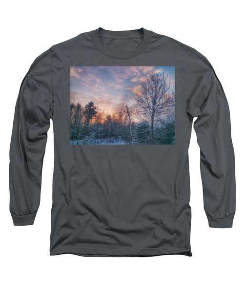 Winter Sunset In New England Long Sleeve T-Shirt