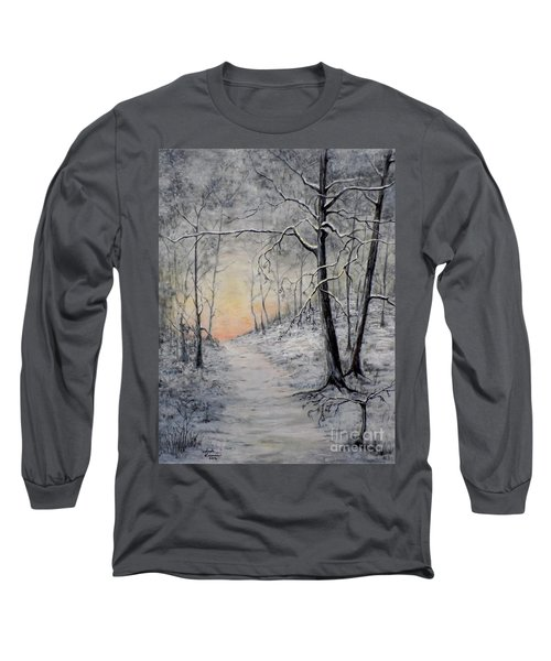 Long Sleeve T-Shirt featuring the painting Winter Sunset by Judy Kirouac