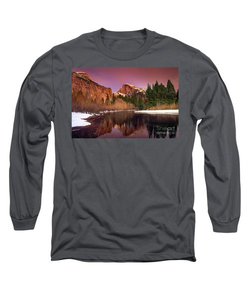 Winter Sunset Lights Up Half Dome Yosemite National Park Long Sleeve T-Shirt