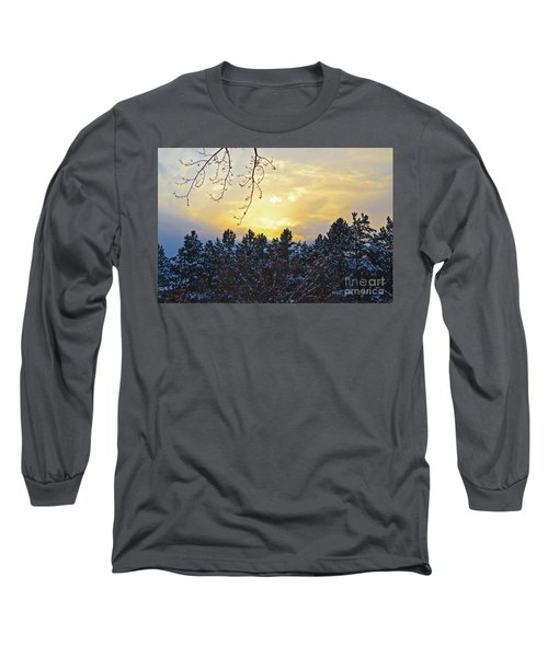 Winter Sunset On The Tree Farm #1 Long Sleeve T-Shirt