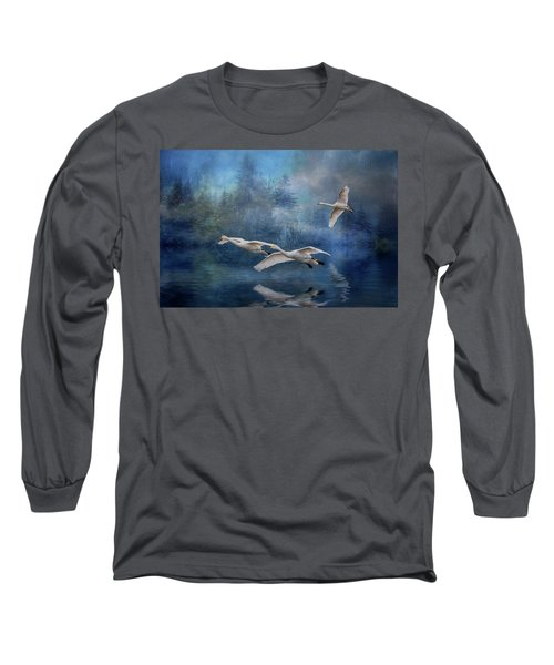 Winter Swans Long Sleeve T-Shirt by Brian Tarr