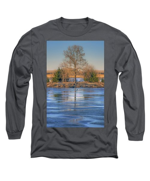 Long Sleeve T-Shirt featuring the photograph Winter Tree - Walnut Creek Lake by Nikolyn McDonald
