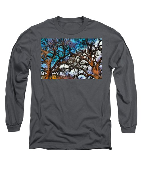Long Sleeve T-Shirt featuring the photograph Winter Trees At Fort Tejon Lebec California Abstract by Floyd Snyder
