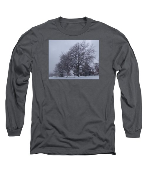 Winter Trees In Sea Girt Long Sleeve T-Shirt by Melinda Saminski