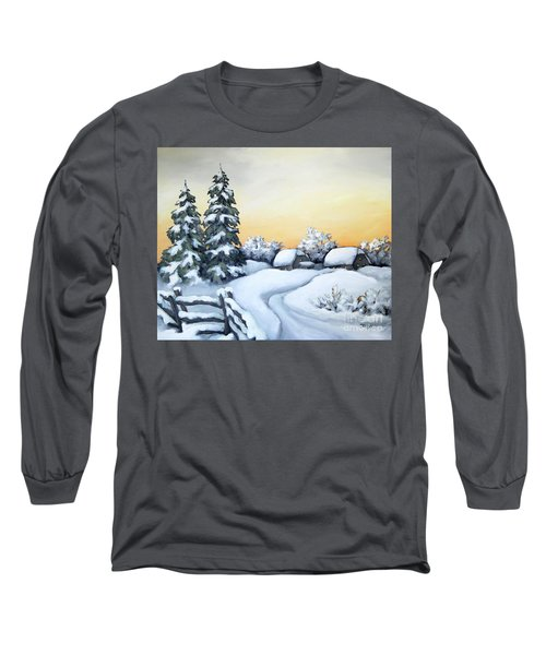 Long Sleeve T-Shirt featuring the painting Winter Twilight by Inese Poga