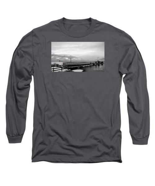 Long Sleeve T-Shirt featuring the photograph Winter's Icy Grip On Lighthouse Ann Arbor Park by Mark J Seefeldt