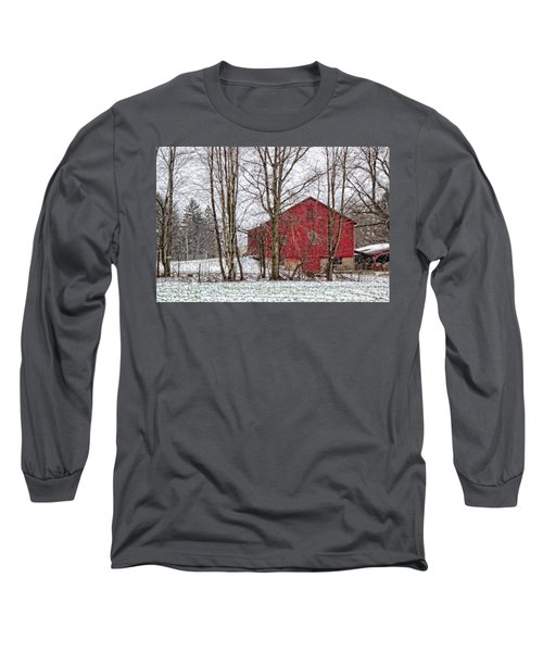 Long Sleeve T-Shirt featuring the photograph Wintry Barn by Skip Tribby