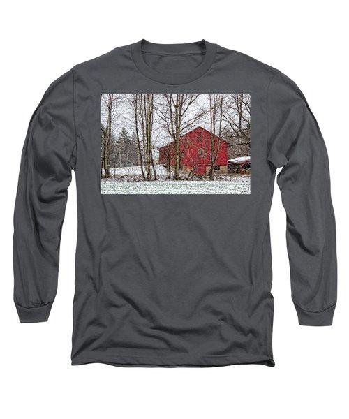 Wintry Barn Long Sleeve T-Shirt by Skip Tribby