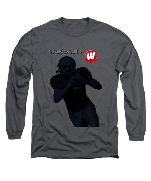 Long Sleeve T-Shirt featuring the digital art Wisconsin Football by David Dehner