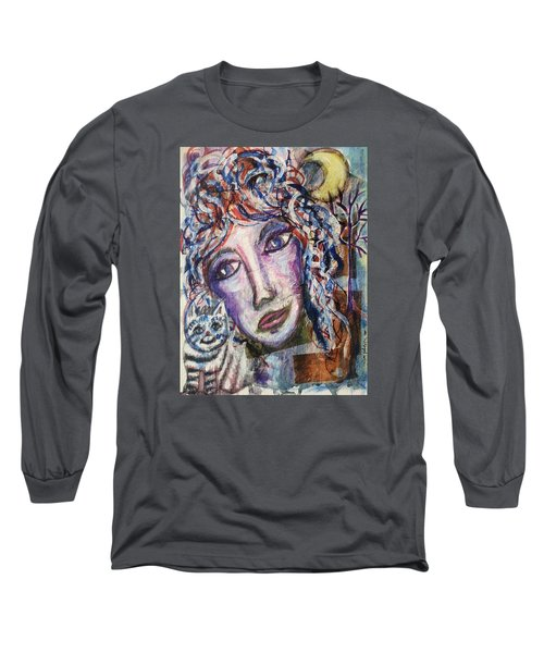 Long Sleeve T-Shirt featuring the mixed media Wise Woman And Her Young Familiar by Mimulux patricia no No