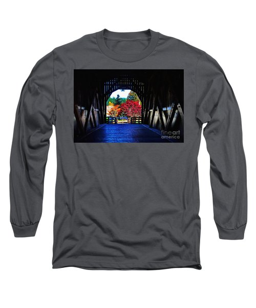 Within The Pass Creek Covered Bridge Long Sleeve T-Shirt by Ansel Price