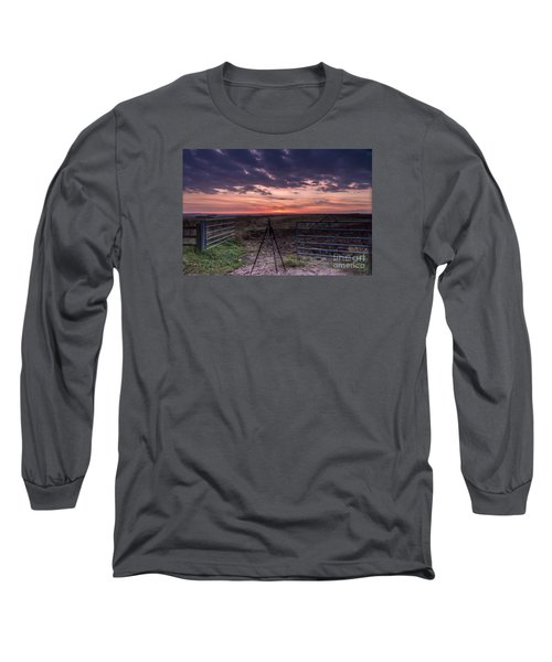 Wolds Sunset 2 Long Sleeve T-Shirt by David  Hollingworth