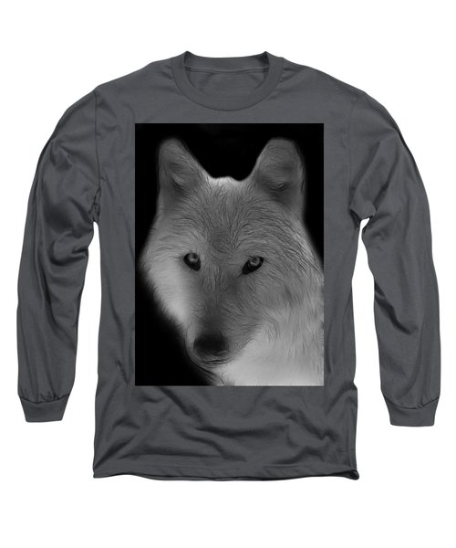 Wolf - Black And White Long Sleeve T-Shirt