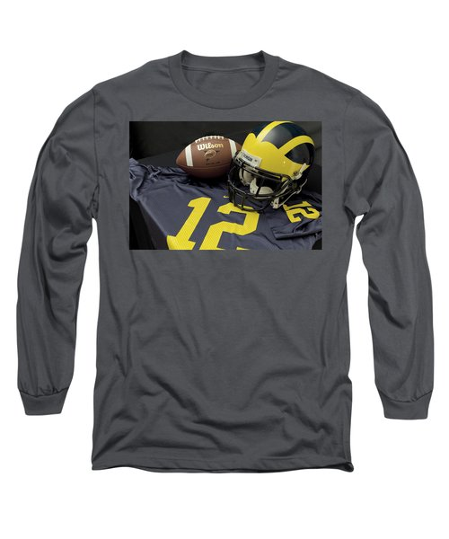 Wolverine Helmet With Football And Jersey Long Sleeve T-Shirt