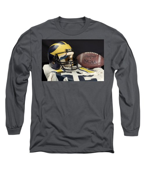 Wolverine Helmet With Jersey And Football Long Sleeve T-Shirt