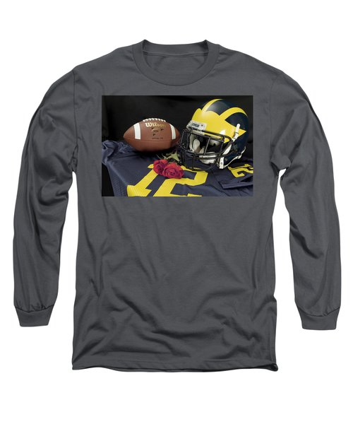 Wolverine Helmet With Roses, Jersey, And Football Long Sleeve T-Shirt