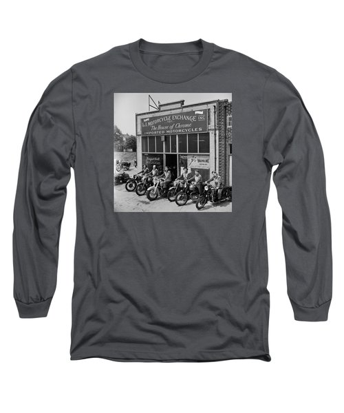 The Motor Maids Of America Outside The Shop They Used As Their Headquarters, 1950. Long Sleeve T-Shirt by Lawrence Christopher