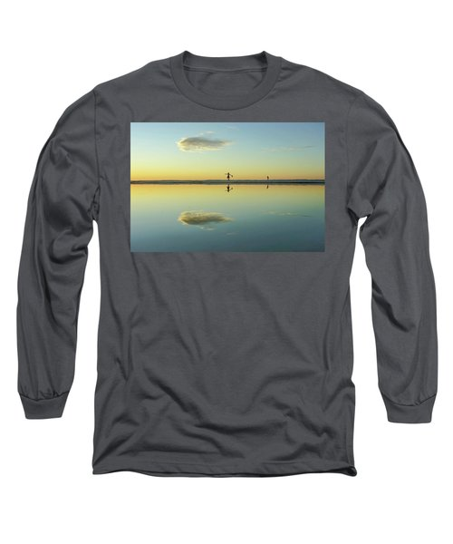 Woman And Cloud Reflected On Beach Lagoon At Sunset Long Sleeve T-Shirt