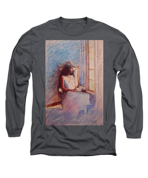 Woman Reading By Window Long Sleeve T-Shirt