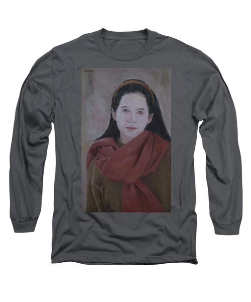 Woman With Scarf Long Sleeve T-Shirt
