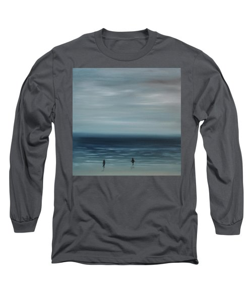 Long Sleeve T-Shirt featuring the painting Women On The Beach by Tone Aanderaa