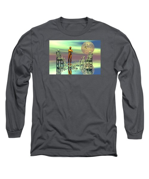 Long Sleeve T-Shirt featuring the digital art Women Waiting For The Perfect Man by Claude McCoy