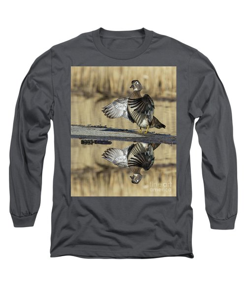 Long Sleeve T-Shirt featuring the photograph Wood Duck Reflection by Mircea Costina Photography