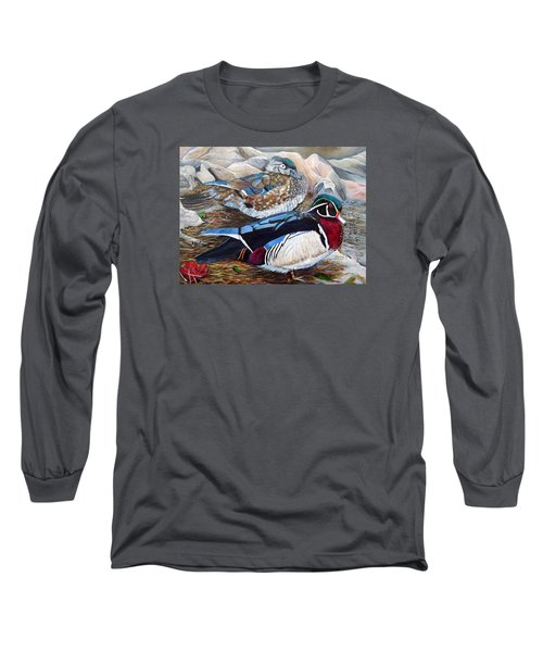 Wood Ducks  Long Sleeve T-Shirt by Marilyn  McNish